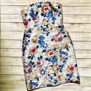 J. Crew Strapless Floral Jacquard Dress